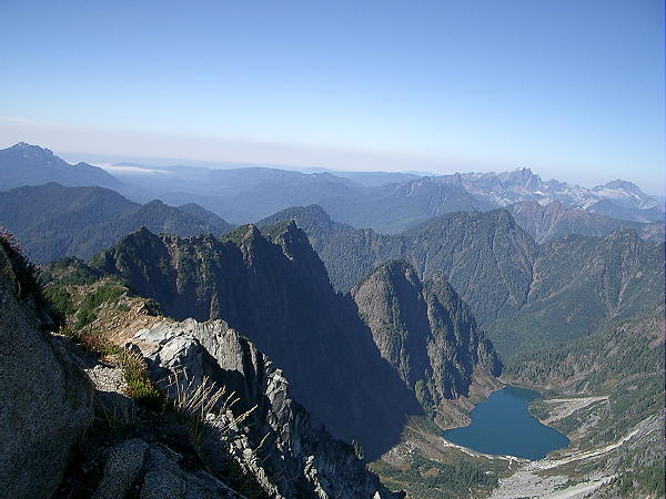 From the summit of Vesper Peak, looking down into the valley at Copper Lake